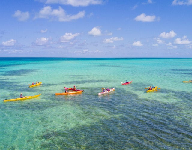 Kayaking at Glover's Reef Atoll in Belize
